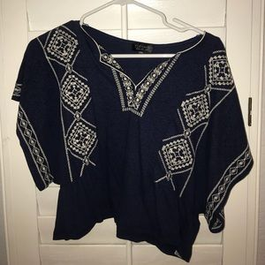 Top Shop Blue Embroidered Crop Top